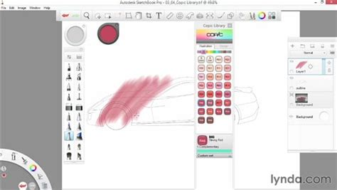sketchbook pro tools utilizing the copic library