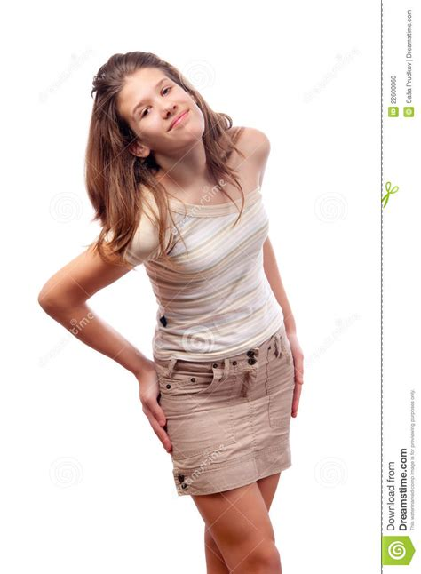 young girl short dress stock photos images pictures beautiful smiling teenage girl in short skirt stock photo