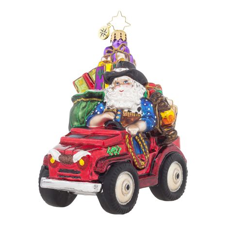 Jeep Santa Radko 1017867 Prarie Claus Cowboy Santa In Jeep Ornament