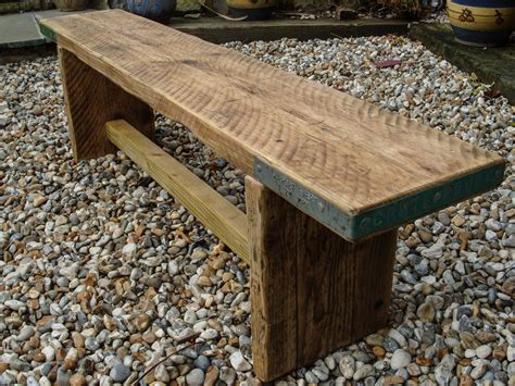 chunky wood bench reclaimed scaffold board rustic chunky wood bench
