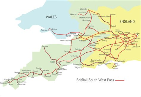 map of south west britrail south west pass