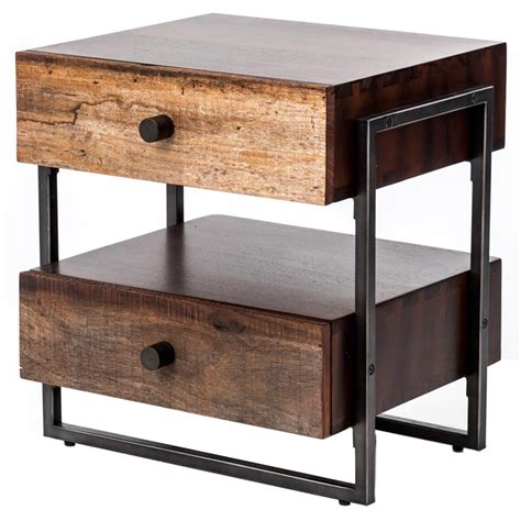industrial metal side table alena industrial rustic wood steel side table kathy kuo home