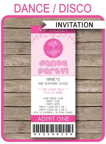 printable dance tickets dance party ticket invitations birthday party
