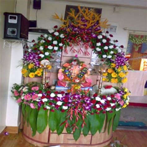 flower decoration in home fresh artificial flowers decoration ganpati decoration