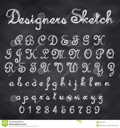 design font blackboard vector sketched font stock vector image of alphabet
