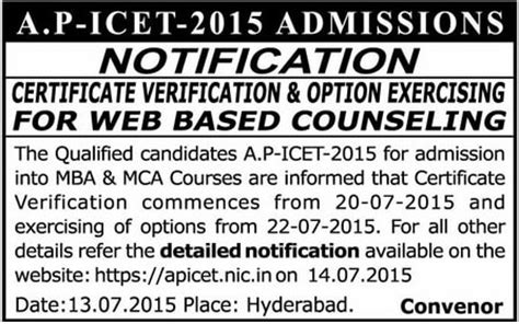 Icet For Mba by Apicet 2015 Counselling Notification Certificate