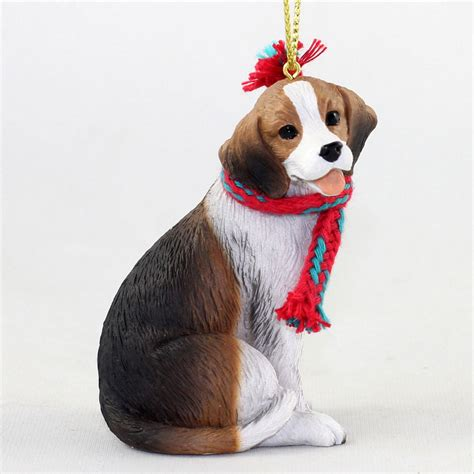 beagle dog christmas ornament scarf figurine
