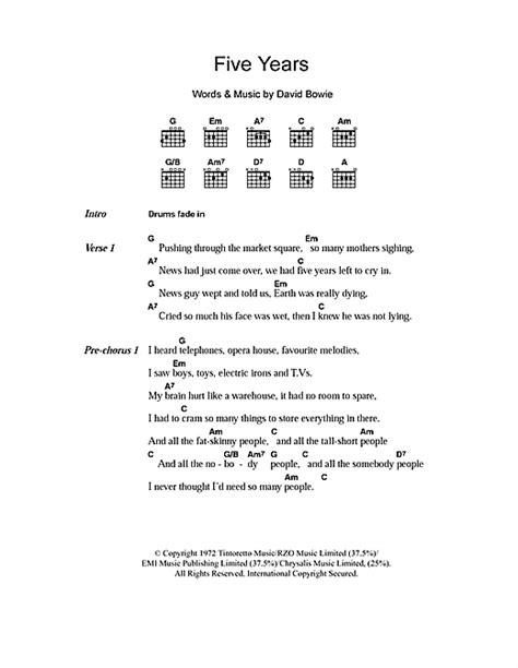 lyrics david bowie five years sheet by david bowie lyrics chords