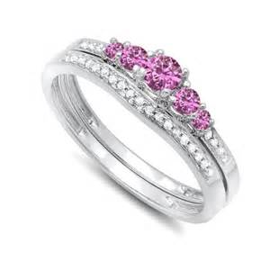 wedding rings with pink diamonds half carat pink sapphire and wedding ring set in