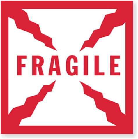 Stiker Shipping fragile with cracks shipping labels sku d250 500