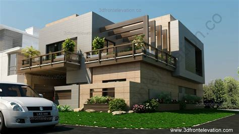 3d front elevation corner house 10 marla plan design
