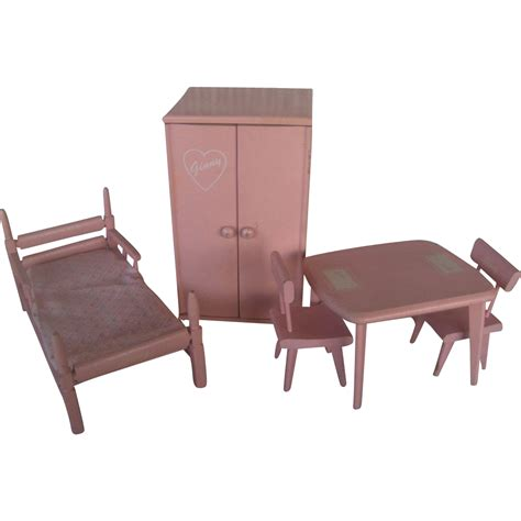 wooden designer doll set vogue ginny pink wooden doll furniture set c 1950 very