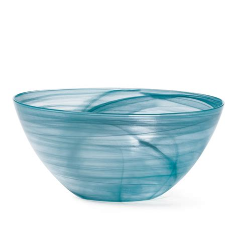 Teal Glass by Mikasa Swirl Teal Glass Serving Bowl Ebay