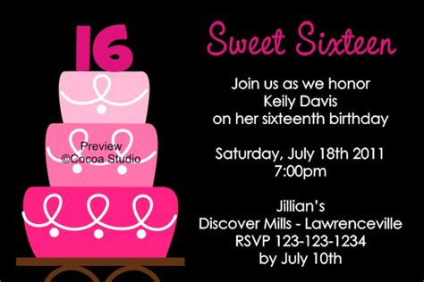 sweet 16 invitation card templates sweet 16 birthday invitations