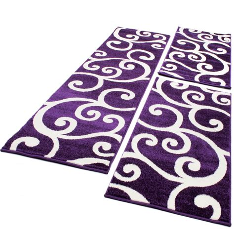 guide tappeti set tappeti guide motivo moderno 3 pz lila panna