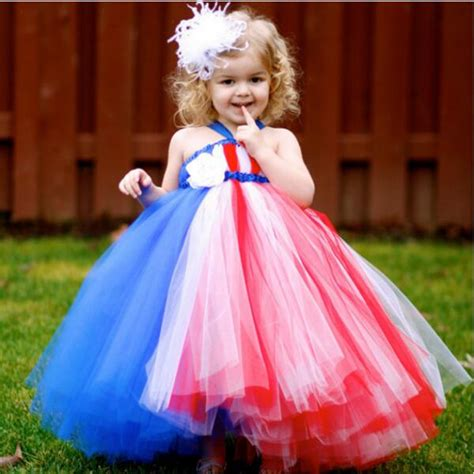 Dress Tutu White Blue Flower 4 6 Th Include Headbandgelangcincin patriot dress white blue 4th of july toddler dress baby infant newborn tutu