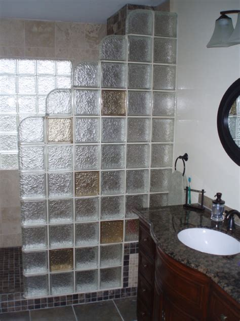 Glass Block Shower Contemporary Bathroom Cleveland Glass Block Showers Small Bathrooms