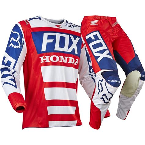 white motocross gear fox racing 2017 mx new 180 honda red white blue jersey