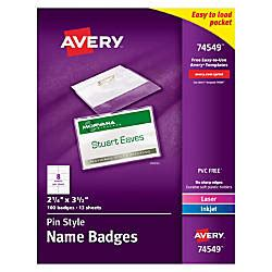 Avery Pin Style Name Badge Kits Business Card Size 2 14 X 3 12 Box Of 100 By Office Depot Staples Id Badge Kit Template