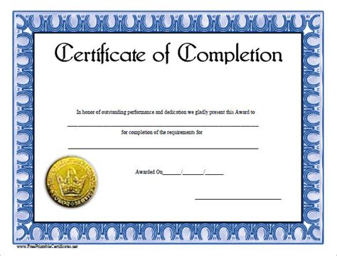 course completion certificate template completion certificate template free premium