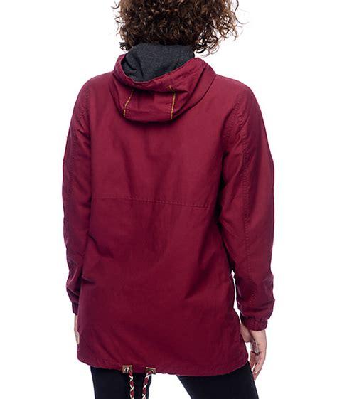 Parka Canvas Maroon Quality dravus gaelyn burgundy canvas anorak jacket zumiez