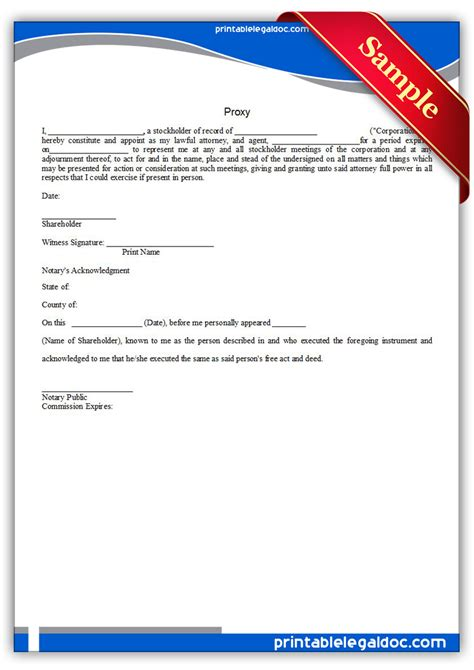 printable proxy form generic
