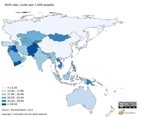asia oceania map asia and oceania map birth rate per 1 000 2016