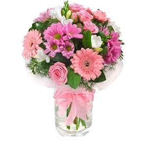 Fresh Flowers In Vase pink vase of fresh flowers