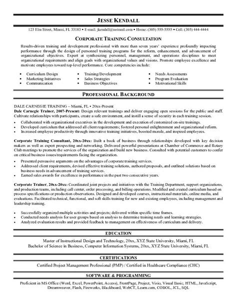 latest resume format training consultant resume sle