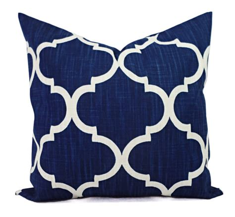 Navy Pillow Sham by Two Pillow Shams Two Navy Quatrefoil Covers By