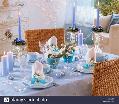 blue white christmas table decorations with tazetta