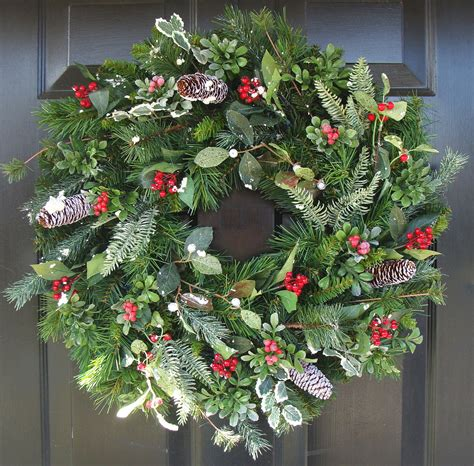 christmas wreath front door wreath holiday wreath berry