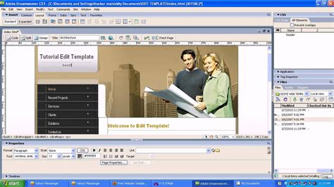 edit web template with adobe dreamweaver cs3 youtube