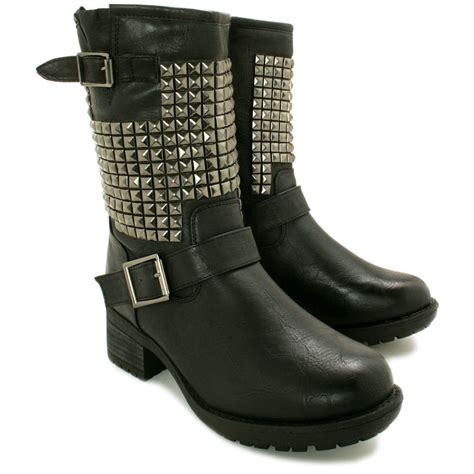 new womens flat studded biker ankle boots size