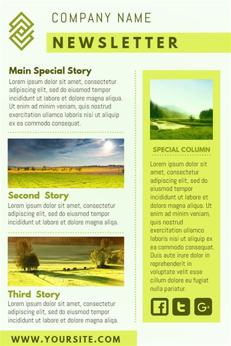 electronic newsletter templates yellow company newsletter design template click to