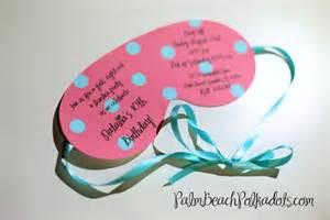 sleepover birthday party invitation eye mask by palmbeachpolkadots
