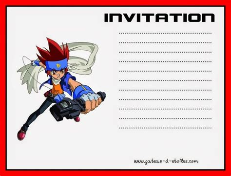 beyblade  printable kit birthday invitations kids