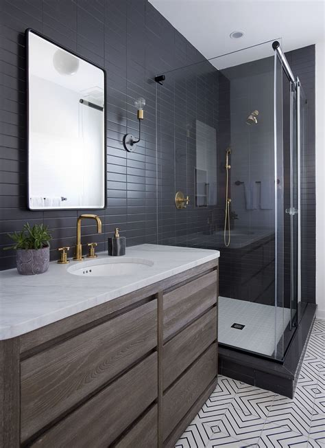 Modern Bathroom Ideas Photo Gallery by Sleek Modern Bathroom With Glossy Tiled Walls