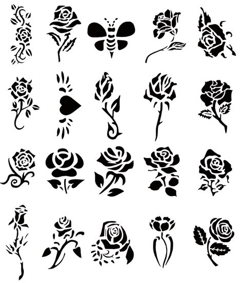 self adhesive airbrush tattoo stencil set book of 20 rose