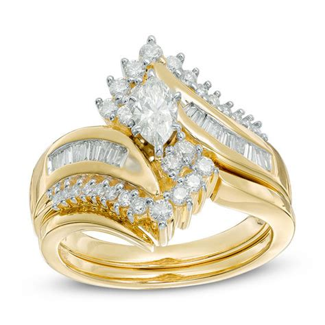 1 ct bridal set 1 ct t w marquise bypass bridal set in 14k gold