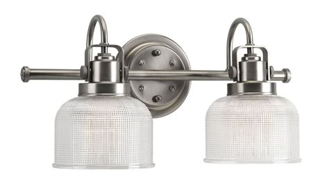 Progress Lighting Fixture Progress Lighting P2991 81 Antique Nickel Archie 2 Light Bathroom Vanity Light With Prismatic