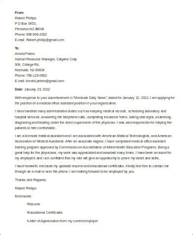 Physician Office Cover Letter by Sle Cover Letter For Assistant 8 Exles In Word Pdf