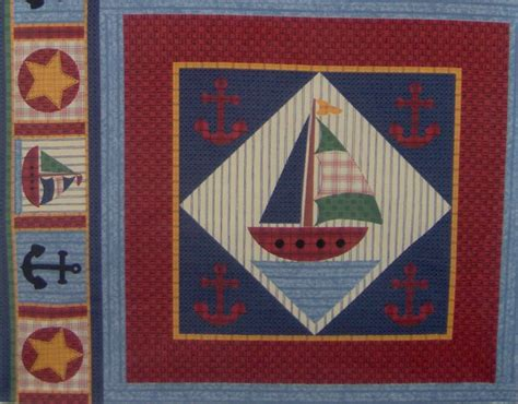 Sailboat Quilt Fabric by Nautical Baby Sailboat Quilt Block Cotton Boat Fabric
