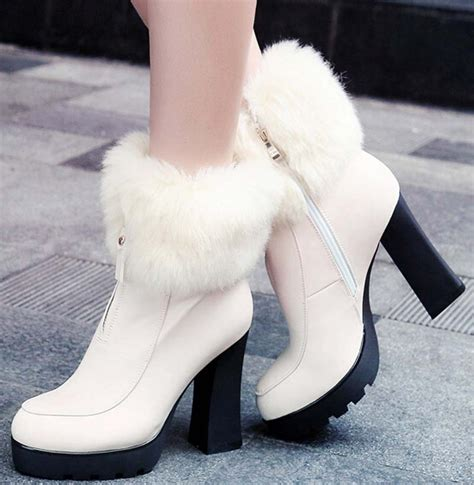 new boots warm fur quality high heels ankle boots fashion