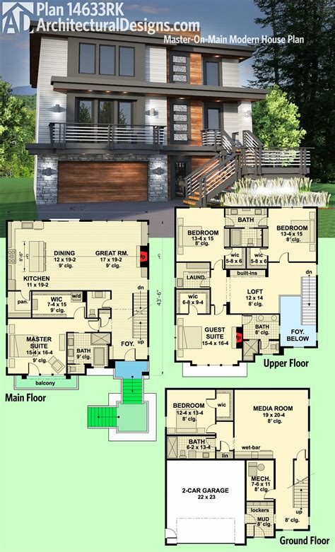 modern home floor plans plan 14633rk master on main modern house plan modern