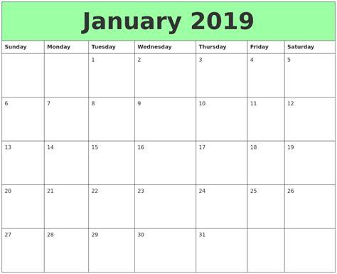 printable calendar january 2019 january 2019 printable calendars