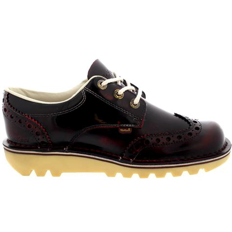Sepatu Kickers Brogue Casual 2 mens kickers kick lo brogue shiny work leather laced smart office shoe all sizes ebay