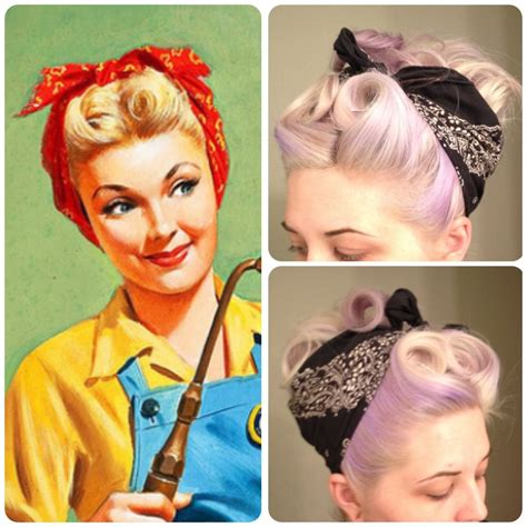 old photos of hair foil 1950 retro bandana hair victory rolls pin curls vintage