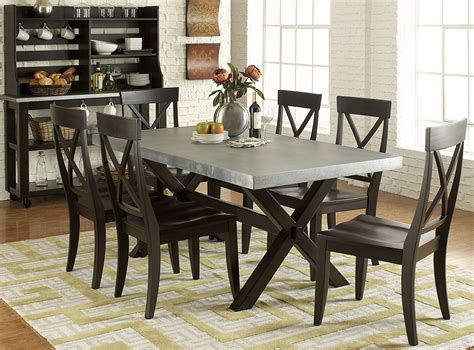 keaton ii charcoal trestle dining room set from liberty