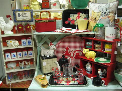 c dianne zweig kitsch n stuff in the red with red white and black kitchen collectibles